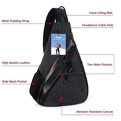 Shoulder Chest Crossbody Sling Bag Pack Backpack for Men Women Girls Boys (Upgraded Black)