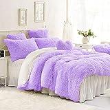 Dark Purple Quilt Covers Sleepwish Faux Fur Bedding Sets Queen Violet Plush Shaggy Duvet Cover 3 Piece Flannel Quilt Cover Set Purple Bed Coverlets