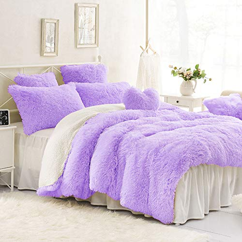 Sleepwish Purple Plush Duvet Cover Set - Violet Faux Fur Bedding, Twin, Full, Queen, and King Size - Bedding Set with Blanket Cover and Two Pillow Shams - Ultra Soft and Comfortable - Cute Room Decor
