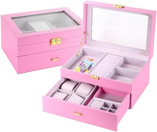 Caja joyero caja para joyerías organizador?caja para joyas,estuche arqueado para guardar joyas, pendientes, anillos, collares,relojes,cerradura y vidrio,cuero de imitación)29*20.5*15cm, pink: Amazon.es: Hogar