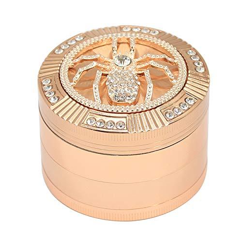 """2.4"""" inch Rose Gold Diamond Grinder 4 Piece Spice Herb Crusher Grind Tobacco Bud Scraper"""