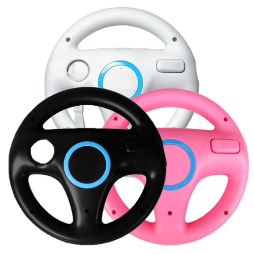 Wii Racing Game Steering Wheel (Generic 3 x pcs Black White Pink Steering Mario Kart Racing Wheel for Nintendo Wii Remote Game)