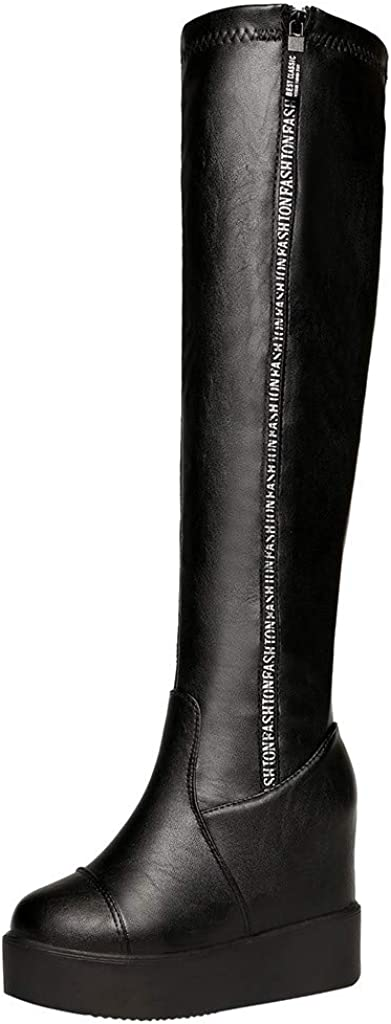 Womens Fashion Comfy Vegan Suede Platform Wedge Heel Side Zip Thigh High Over the Knee Boots