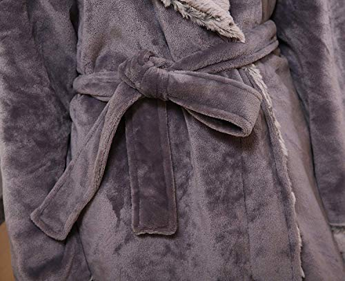 Ocasional Kimono Espesar Pijama Bolsillos Larga Pijamas Batas Otoño Invierno Mujer Unisex Pareja Hombre Marca Mode Camisones Dunkelgrau Con Manga Cinturón cuello De V P1PEqw