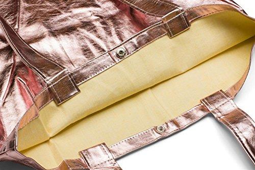 styleBREAKER bolsa de tela con apariencia metálica con cierre de botón a presión, bolsa, bolsa de tela, bolso, unisex 02012208, color:Dorado metálico Rosa dorado metálico