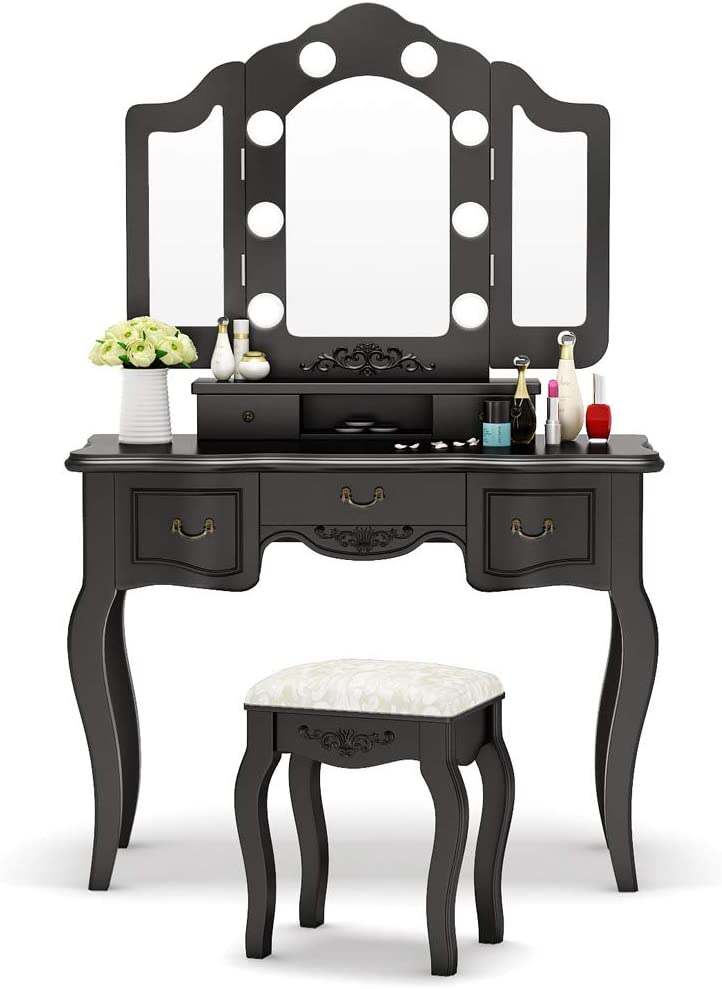 Tribesigns Vanity Set with Tri-Folding Lighted Mirror, French Vintage Makeup Vanity Dressing Table Dresser Desk with 5 Drawers, 8 LED Lights and Cushioned Stool for Bedroom (Black)