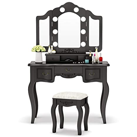Tribesigns Vanity Set with Tri-Folding Lighted Mirror, French Vintage  Makeup Vanity Dressing Table Dresser Desk with 5 Drawers, 8 LED Lights and  ...