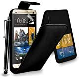 HTC One M8 Black Leather Flip Case Cover Pouch + Touch Stylus Pen + Screen Protector & Polishing Cloth