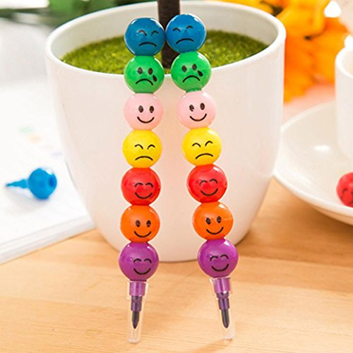 7 Colors Crayons,Tuscom 12CM Smile Face Crayons, Cute Stacker Swap pen,Children Drawing Gift (Multicolor/2PC)