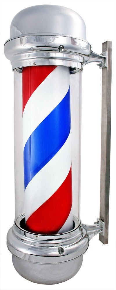 Led Sign Hair Shop Salon & Barber Light Pole Rotating Stripes Metal White Blue Red Animated Neon