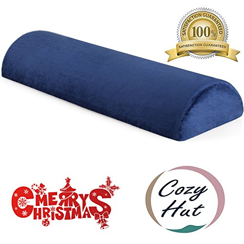 Cozy Hut Memory Foam Semi Roll Pillow Half Moon Bolster Knee Support Pillow for Side, Back, Stomach Sleepers for Sciatica Relief, Back Pain, Leg Pain with Washable Cover - 24''L X 8''W X 4''H (Head Half Moon)