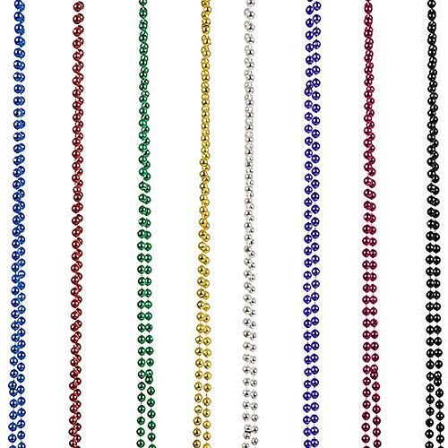 Xisheep 16PCS for Mardi Gras Beads Necklaces Party Favors 8 Colors