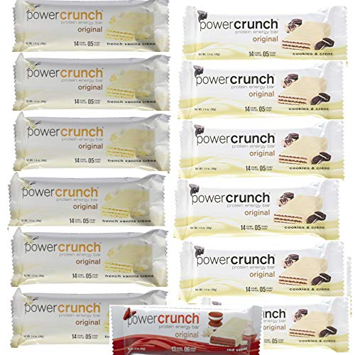 Flavor Creme Vanilla - Power Crunch High Protein Energy Snack 1.4-Ounce Protein Bars Variety Pack, Includes 6 Cookies & Creme Flavor, 6 Vanilla Creme Flavor + Bonus Delicious Red Velvet Flavor (Total of 13 Bars)