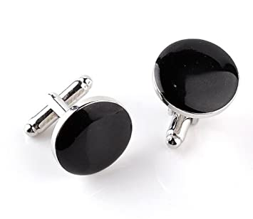 Hosaire 1 Paar Manschettenkn/öpfe Mode Runde Form Schwarz Hemd Cufflinks