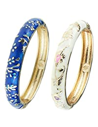 UJOY Classic Cloisonne Bracelets Enamel Jewelry Gold Plated Cuff Metal Bangle for Women Gift Box Packed 55A81 Blue