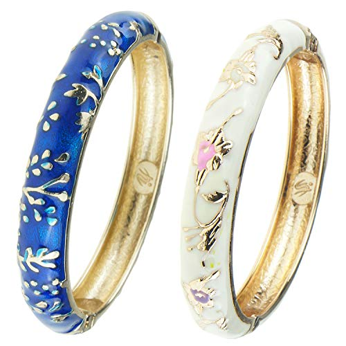 UJOY Classic Cloisonne Bracelets Enamel Jewelry Gold Plated Cuff Metal Bangle for Women Gift Box Packed 55A81 Blue ()