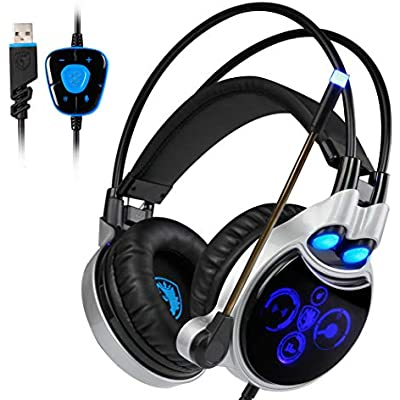 LIULL Gaming Headsets Surround Sound Effects Lightweight Design Headphones Physical 7 1 Noise-Cancelling Microphone And Volume Control Suitable For Desktop Notebook Sports Silver