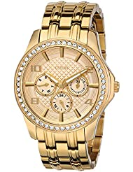 GUESS Womens U0147L2 Polished Glamour Gold-Tone Watch with Crystal Bezel