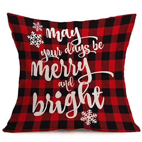 Asamour May Your Days be Merry and Bright Lettering Throw Pillow Covers Xmas Red Black Buffalo Plaid Vintage Home Decorative Pillow Case Cushion Cover 18x18 Inches Best Gift
