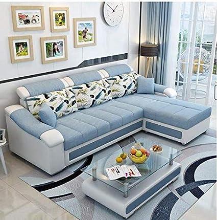 Fine Lillyput Interio Hardwood Modern L Shape Fabric Sofa Sky Blue Standard Size Theyellowbook Wood Chair Design Ideas Theyellowbookinfo