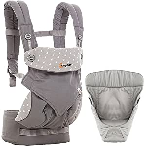 Ergobaby 360 All Carry Positions Bundle Of Joy with Easy Snug Infant Insert - Dewy Grey