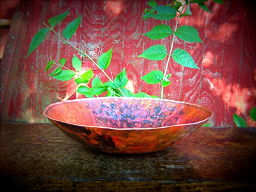 Large Copper Bowl Hand Forged Copper Bowl Blacksmith Made Hammered Bowl Round Vessel Serving Bowl Kitchen Decor 7th Anniversary Gift for Men* Round Forge Colored Copper Bowl, Marbled Texture by Christ Centered Ironworks (Image #3)