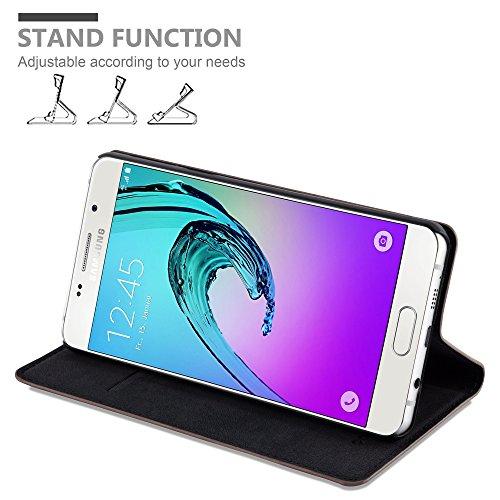 Cadorabo - Funda Book Style Cuero Sintético en Diseño Libro Samsung Galaxy A5 (6) (Modelo 2016) �?Etui Case Cover Carcasa Caja Protección con Imán Invisible en TURQUESA-PETROL MARRÓN-CAFÉ