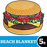 BigMouth Inc Gigantic Burger Beach Blanket– Fun Beach Blanket Perfect for The Beach, Pool, Lake and More, Machine Washable