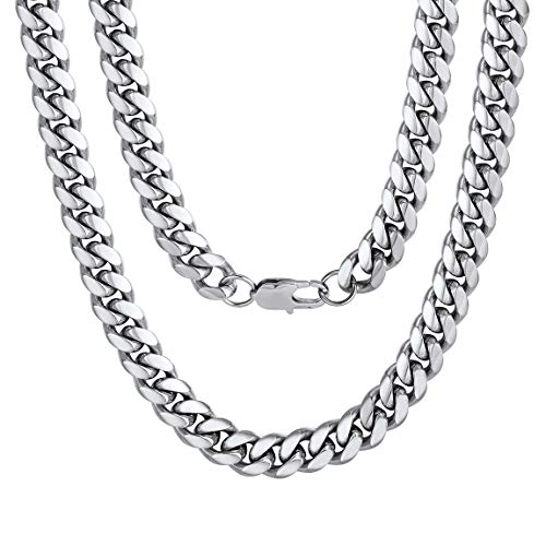 "Men Jewelry Hiphop Cuban Chain Stainless Steel Necklace 26"" 10MM Silver Color"
