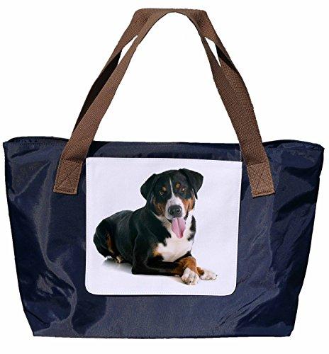 Shopper /Schultertasche / Einkaufstasche / Tragetasche / Umhängetasche aus Nylon in Navyblau - Größe 43x33cm - Motiv: Appenzeller Sennenhund Porträt - 02