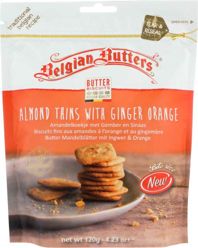Belgian Butters Cookies Ginger Orange Almond Thins 4.23 OZ (Pack of 12)