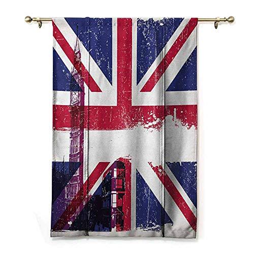 HCCJLCKS Insulated Blackout Blinds Union Jack Grungy Aged UK Flag Big Ben Double Decker Country Culture Historical Landmark Durable Multicolor W27 xL64 (Best Blackout Blinds Uk)