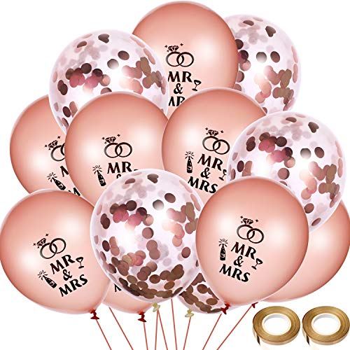 Chinco 40 Pieces Wedding Balloons Rose Gold Mr Mrs Balloons Confetti Balloon with 2 Rolls Balloon Ribbons for Wedding Anniversary Engagement Party Decor