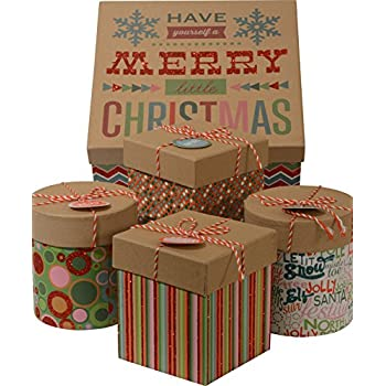 Christmas Gift Boxes; Glitter accents, 1 Large box with 4 small boxes inside; round and square minis, nested