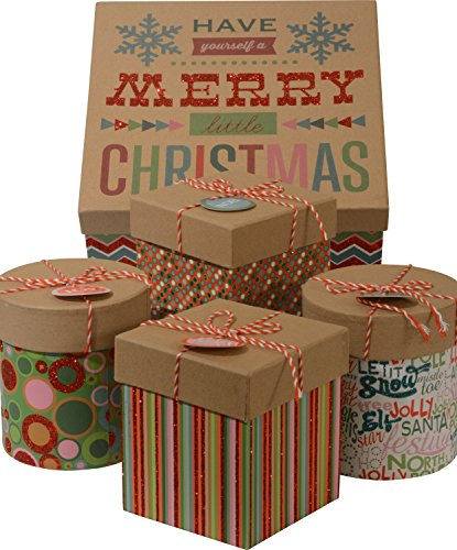 Christmas Gift Boxes; Glitter accents, 1 Large box with 4 small boxes (Christmas Candy Gift Box)