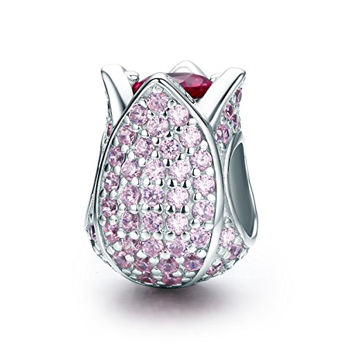 Soulove Tulip Flower Petals Pink CZ 925 Sterling Silver Bead for Snake Chain Charm ()