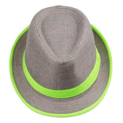 (Bigood Women Lime Neon Strip Straw Boho Fedora Beach Panama Hat)