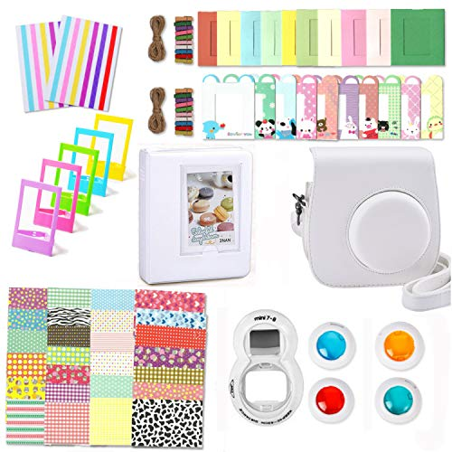 Leebotree Camera Accessories Compatible with Instax Mini 9 or Mini 8 8+ Include Case/Album/Selfie Lens/Filters/Wall Hang Frames/Film Frames/Border Stickers/Corner Stickers (White)