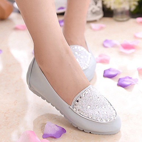 Loafer Flats Blue Comfy Beads Shoes Crystal Slip Womens On Comfortable Doug Work Angelliu 4qC8O7z