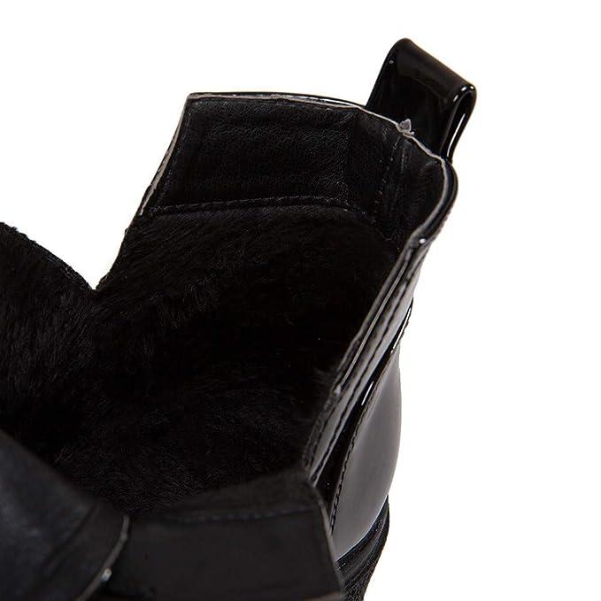 JiaMeng Mujer Retro Otoño Invierno Botines Calentar Botas con Cordones Planas de Moda Punta Redonda Zapatos Casuales de Charol: Amazon.es: Ropa y accesorios