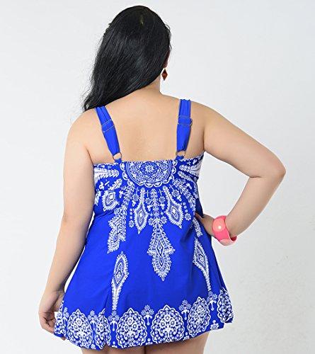 Niseng Mujer Trajes De Baño Ropa Tallas Grandes Una Pieza Falda Y Pantalones Cortos Conjuntos Azul Zafiro