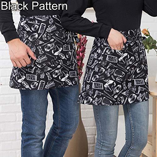 Gyswshh Short Waist Apron with Pocket ,Striped Plaid Half-Length Catering Chef Waiter Bar Black Pattern