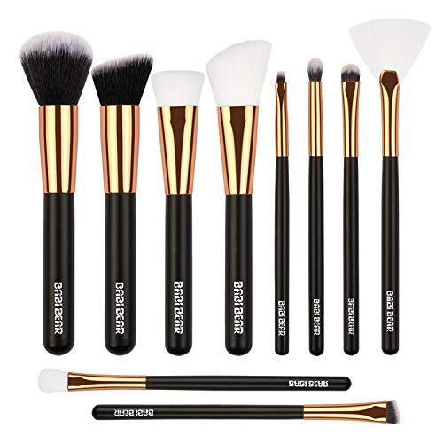 BABI BEAR Makeup Brushes 10 PCs Makeup Brushes Set Premium Synthetic Foundation Powder Fan Concealers Eye Shadows Makeup Brush Set with Wooden Handle (10pcs,Rose Gold)