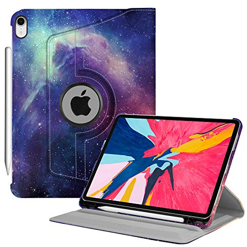 """Price comparison product image Fintie Rotating Case with Built-in Apple Pencil Holder for iPad Pro 11"""" 2018 [Support Apple Pencil 2nd Gen Charging Mode] - 360 Degree Rotating Stand Protective Cover with Auto Sleep / Wake,  Galaxy"""