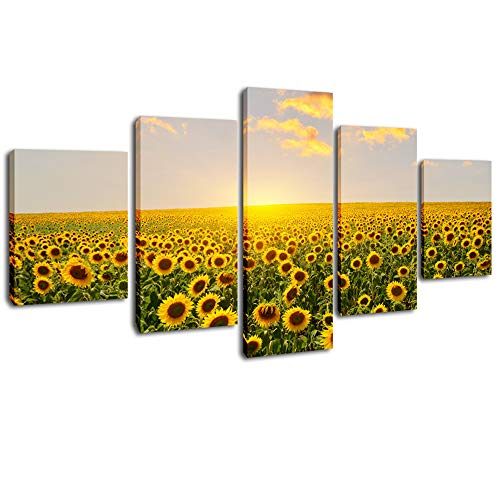 DVQ ART - Sunflowers Wall Art Painting Sunflower Wall Decor for Kitchen Stretched and Framed Flower Giclee Print Artwork Picture Ready to Hang 5 Pcs/Set (Sunflower 5 Panel)