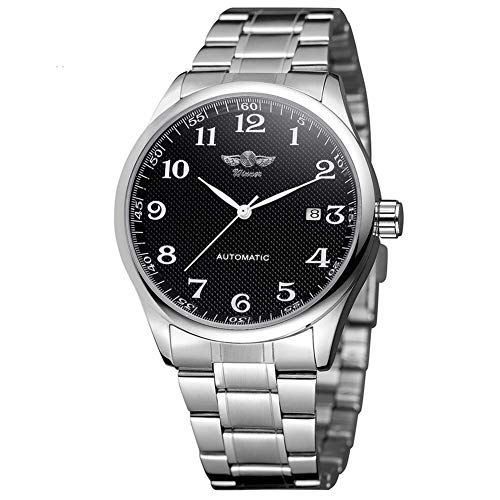 New Brand Mall Men's Automatic Mechanical Date Analog Silver Stainless Steel Wrist Casual Watch