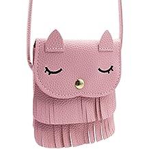 Cute Cat Tassel Shoulder Bag Small Mini Coin Purse Messenger Bag Crossbody Satchel for Kids Girls (5.15.9in) or(4.3X5.1in)
