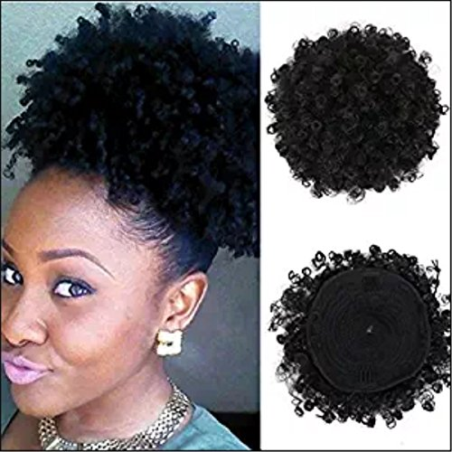 (VGTE Beauty Synthetic Curly Hair Ponytail African American Short Afro Kinky Curly Wrap Synthetic Drawstring Puff Ponytail Hair Extensions Wig with Clips(#1,Medium))