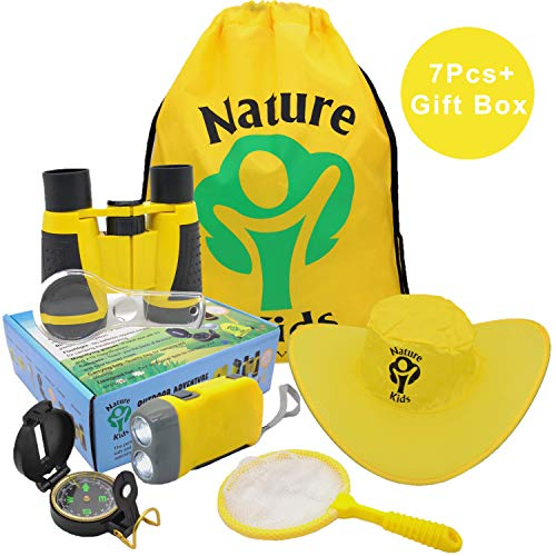 Adventure Kids - Outdoor Explorer Kit, Children's Toys Binoculars, Flashlight, Compass, Magnifying Glass, Butterfly Net & Backpack. Great Kids Gifts Set for Birthday, Camping, Hiking and Educational]()