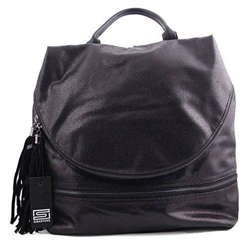 Sibastone - Bolso mochila  para mujer 35 x 31 x 16 cm negro